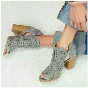 CARLY perforated suede peeptoe ankle booties -GRAY